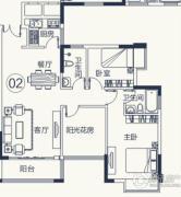 怡泰雅苑3室2厅2卫86平方米户型图