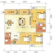 鑫鹏国际3室2厅1卫103平方米户型图