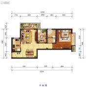 怡景尚居1室2厅1卫72平方米户型图