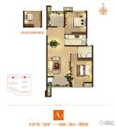 亿丰锦瑟2室2厅1卫88平方米户型图