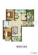 傲湖铂岸2室2厅1卫102平方米户型图