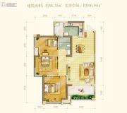 中海右岸3室2厅1卫88--100平方米户型图