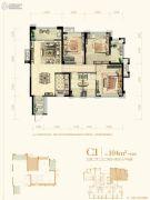 中庚・香江万里3室2厅2卫104平方米户型图