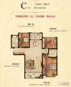 凯地・华丽世家3室2厅2卫142平方米户型图