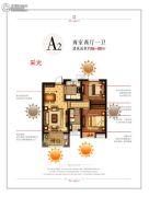 华润绿地凯旋门2室2厅1卫86--88平方米户型图