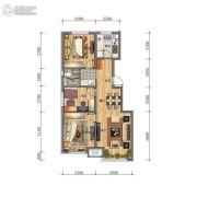 万科・招商 城市之光3室2厅1卫0平方米户型图