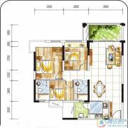 金碧丽江西海岸2室2厅2卫93平方米户型图