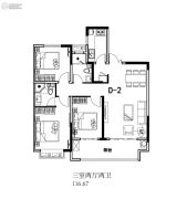 山川花园里3室2厅2卫116平方米户型图