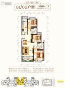钦州恒大学府3室2厅2卫121平方米户型图