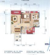 云星钱隆天誉2室2厅2卫81平方米户型图