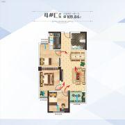 百汇国贸中心3室2厅1卫105平方米户型图