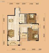 中南一号院2室2厅1卫96平方米户型图