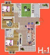 腾瑞・幸福里3室2厅1卫124平方米户型图