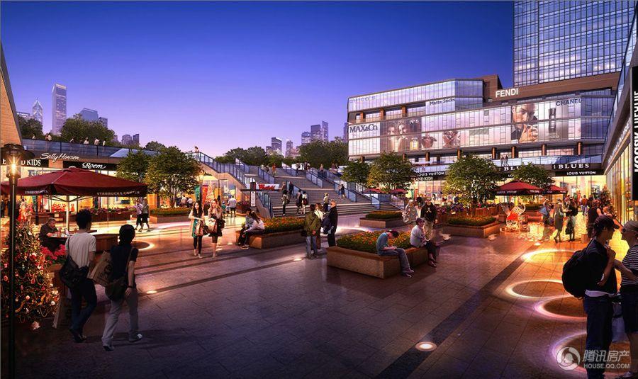 下沉式广场商业广场夜景