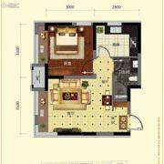 保利溪湖林语1室2厅1卫48平方米户型图