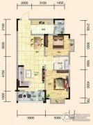 翰林世家2室2厅1卫91平方米户型图