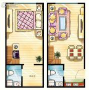 当代MOHO1室1厅2卫52--53平方米户型图