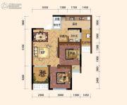 旭阳台北城敦美里2室2厅1卫54平方米户型图