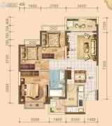 北海恒大雅苑3室2厅1卫88--89平方米户型图