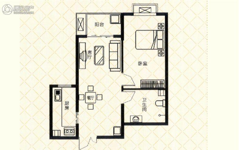 砥柱大厦 C-4 1室2厅1卫1厨70㎡
