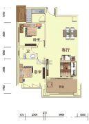 尚御华府2室2厅1卫84平方米户型图