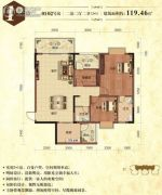 华厦丽景湾3室2厅2卫119平方米户型图