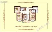 广杰龙湖华庭3室2厅2卫131平方米户型图