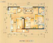 瑞鼎城3室2厅1卫90平方米户型图