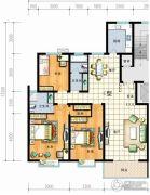 红安帝都3室2厅2卫131平方米户型图