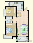 嘉宇枫尚2室2厅1卫100平方米户型图