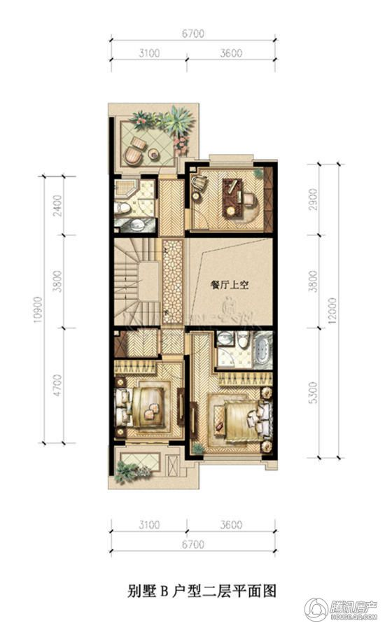 别墅a二层平面图