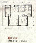 祥泰香榭花堤2室1厅1卫74平方米户型图