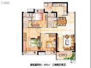 时代天韵3室2厅2卫101平方米户型图