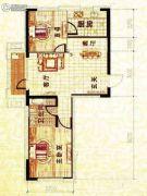 溪城丽景2室2厅1卫87平方米户型图