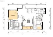 中交里城3室2厅1卫78平方米户型图