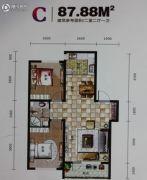 世纪新园・悦园2室2厅1卫87平方米户型图