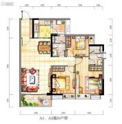 时代紫林3室2厅2卫104平方米户型图