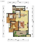中交锦湾一期2室2厅1卫90平方米户型图