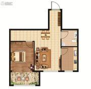 环龙湾1室1厅1卫55平方米户型图
