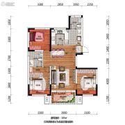 万科翡翠公园3室2厅2卫105平方米户型图