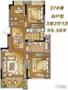 滨江丽都桥语3室2厅2卫99平方米户型图