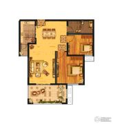 发展红星城市广场2室2厅1卫85--87平方米户型图