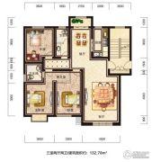恒威滨江国际3室2厅2卫132平方米户型图