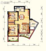 皇家海湾公馆2室2厅1卫80--92平方米户型图