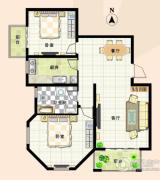 清华忆江南2室2厅1卫90平方米户型图