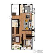 万科MixTown2室2厅2卫118平方米户型图