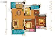 两江春城3室2厅1卫74平方米户型图