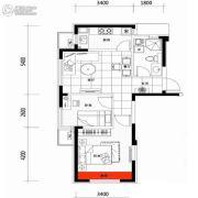 朗明居2室2厅1卫71平方米户型图