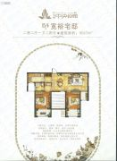中建中央公园2室2厅1卫97平方米户型图