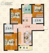 富泰城3室1厅2卫122平方米户型图